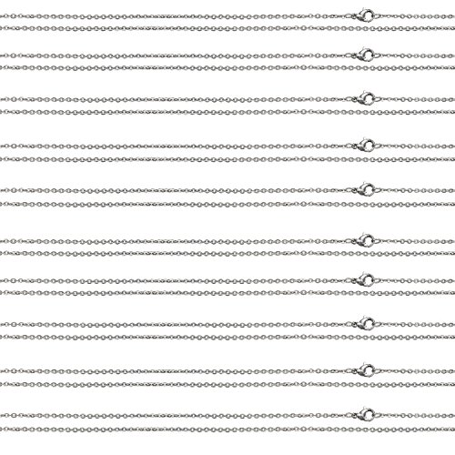 Stainless Steel Cable Chain Necklace Womens Mens Bundle Smooth Lobster Clasp Pouch Included (10PC 16