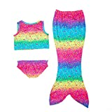 Age 4-8 Girl's 3pcs Mermaid Swimsuit Mermaid Swimwear Bikini (Blue Rainbow, 130CM(6-7Y)) …