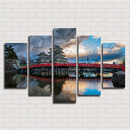 [Medium] Premium Quality Canvas Printed Wall Art Poster 5 Pieces / 5 Pannel Wall Decor Japanese Building Bridge Painting, Home Decor Pictures - With Wooden Frame (Building Canvas Art)