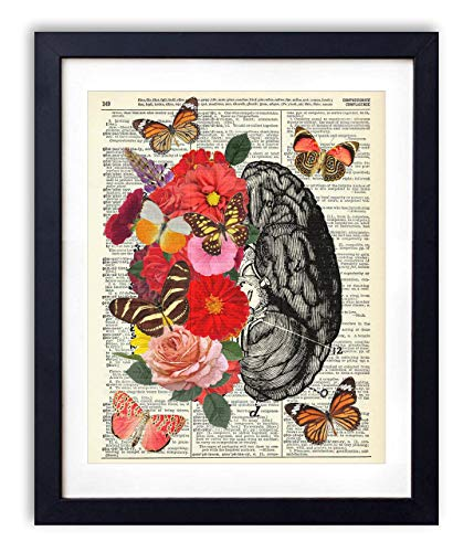 Brain With Flowers and Butterflies Upcycled Vintage Dictionary Art Print - Art Butterfly Poster