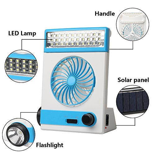 Ansee 3 in 1 Multi-functional Solar Cooling Table Fans with Eye-Care LED Table Lamp Flashlight Solar Panel Adaptor Plug for Home Use Camping (Blue) by Ansee (Image #2)