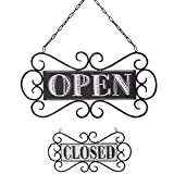NIKKY HOME Double Sided Metal Open and Closed Store Signs with Chain Hand