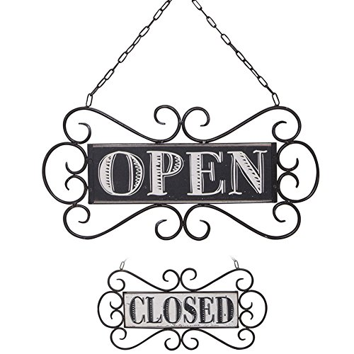 "NIKKY HOME Double Sided Metal Open and Closed Store Signs with Chain Hand, 14"" x 13"" from NIKKY HOME"