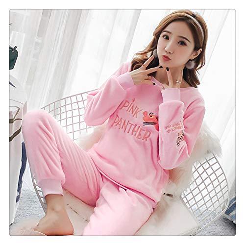 Autumn Winter Women Pajamas Set Sleep Jacket Pant Sleepwear Warm Nightgown Female Cartoon Bear Animal Pants Sleepwear AA Pink Pk Panther M]()