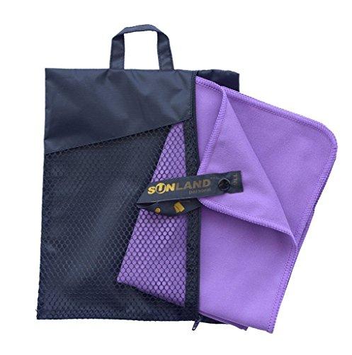 Sunland Extra Leicht und Kompakt Schnelltrocknendes Saugfähiges Mikrofaser Reisehandtuch Sporthandtuch Fitnesshandtuch Badetuch Saunatuch Handtüch (Violet, 60cmx120cm)
