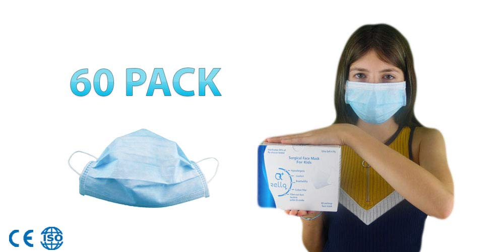 Kids Surgical Masks Disposable Flu Medical Earloop Face Mask Blue, Pediatric Pollution Sick Breathing Germ Masks Antiviral Pollen Allergy, Safety Mask Premium Soft 4 PLY Mouth Cover, 60 PCS by RellQ