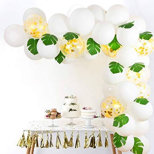 - White Gold Confetti Balloons Arch, 12 Inch 40pcs Latex Balloons with 12pcs Palm Leaves 16 FT Balloon Strip Set for Baby Shower Birthday Party Supplies Backdrop Wedding Decorations