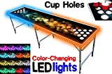8-Foot Professional Beer Pong Table w/ Cup Holes & LED Glow Lights - Bubbles Edition