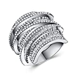 Ring Geometric Line Design Full Diamond Zircon Ring Cocktail Party Accessories (Size : 9)
