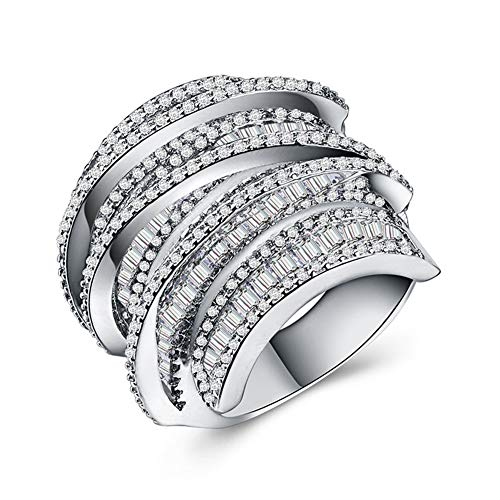 Ring Geometric Line Design Full Diamond Zircon Ring Cocktail Party Accessories (Size : 9) by Unknown (Image #7)