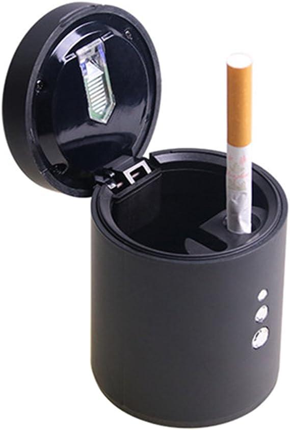 Vorcool Tragbare Auto Zigarette Aschenbecher Mit Led Licht Und Deckel 6 5x8 4 Cm Schwarz Auto