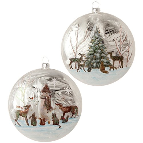 Raz Imports Christmas Ornament Woodland Animal Disc 2 assorted (Animal Christmas Stuffed Tree Ornaments)