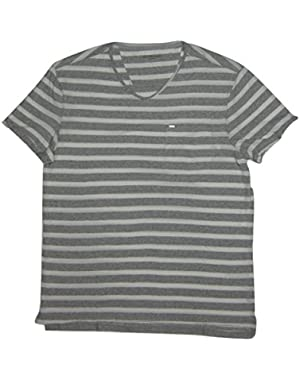 Calvin Klein Jeans Men's Short Sleeve Striped V-Neck, Captivate