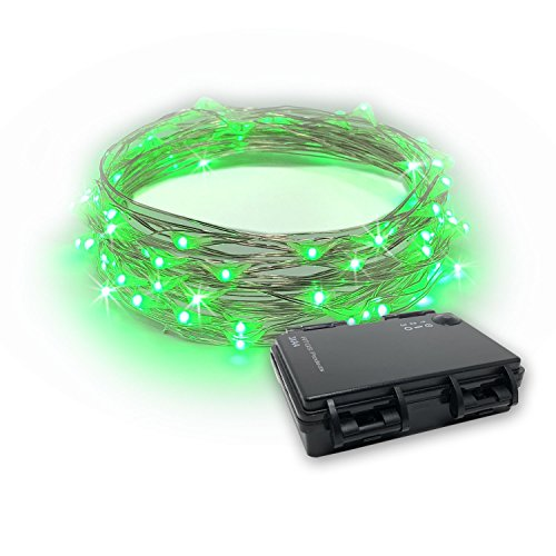 RTGS 30 LEDs String Lights Batteries Operated on 10 Feet Long Silver Color Wire, Indoor and Outdoor with Waterproof Batteries Box and Timer (Green Color 30 LEDs 10 FEET Timer)