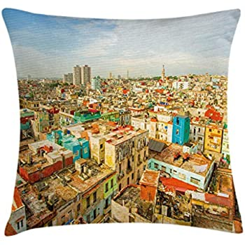 Ambesonne Travel Throw Pillow Cushion Cover, Panorama of Havana City Vedado District in Cuba Old Colorful Houses Historic Place, Decorative Square Accent Pillow Case, 16