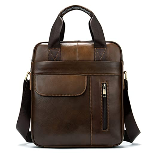 49034e7ecfe2 Amazon.com: Men's Shoulder Bags Genuine Leather Vertical Document ...