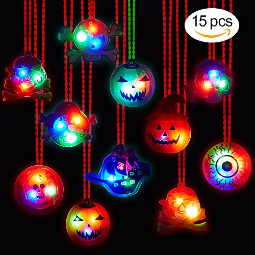[BUDI 15Pc Halloween LED Necklaces Party Favors For Kids and Adults with Gift Package Halloween Light up toys Treat Bag Fillers] (Halloween Gifts)