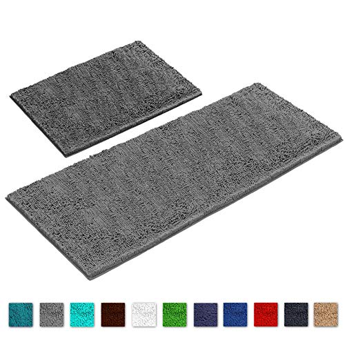 Runner Bath (LuxUrux Bathroom Rug Mat Set-Extra-Soft Plush Bath Shower Bathroom Rug,1'' Chenille Microfiber Material, Super Absorbent. Machine Wash & Dry (Rectangular Runner Set, Light Grey))