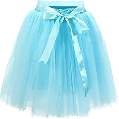 Facent Mujeres 7 Niveles 50cm Tutu Tul Falda Enaguas Azul Cielo ...