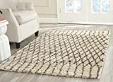 Safavieh Casablanca Shag Collection CSB860A Handmade Ivory and Grey Premium Wool & Cotton Area Rug (4' x 6')