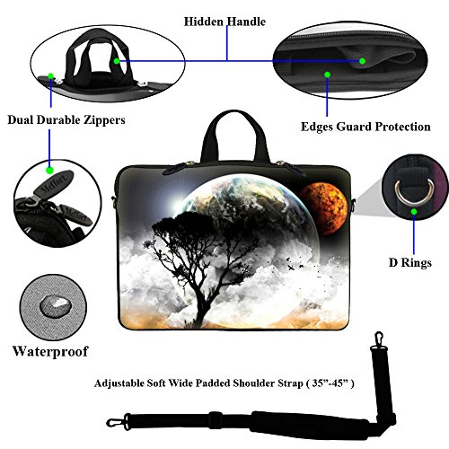 Meffort Inc 15 15.6 inch Laptop Carrying Sleeve Bag Case with Hidden Handle & Adjustable Shoulder Strap with Matching Skin Sticker and Mouse Pad Combo - View of Planet by Meffort Inc (Image #1)