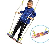 HappyPie Children Trapeze Tree Skateboard Swing with 93'' Adjustable Rope Outdoor Exercise Toy - Eagle