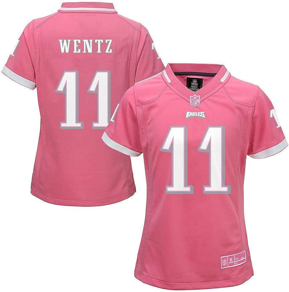Carson Wentz Philadelphia Eagles NFL Youth Girls 8-20 Pink On-Field Jersey