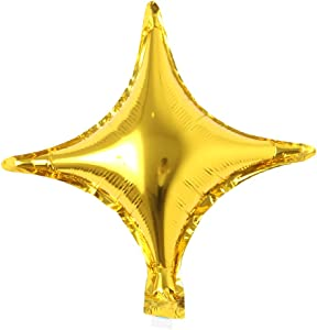 2pcs/lot 10 inch Foil 4 Pointed Star Balloon Mylar Balloons for Birthday Wedding Party Decoration Helium Metallic air Ball Decor (2 pcs 4 Point Star Gold)