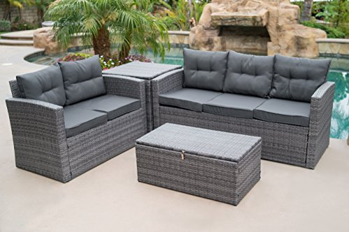 Belleze 4PC Deep Seating Sectional Patio Set Backyard Seat Sofa Dual Storage Ottoman Cushions Backrest, Gray