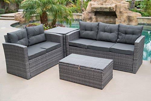 - Belleze 4PC Deep Seating Sectional Patio Set Backyard Seat Sofa Dual Storage Ottoman Cushions Backrest, Gray
