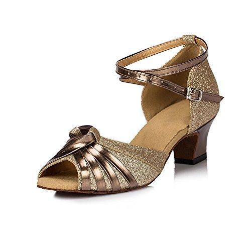 misu - Zapatillas de danza para mujer Dorado dorado, color Dorado, talla 43