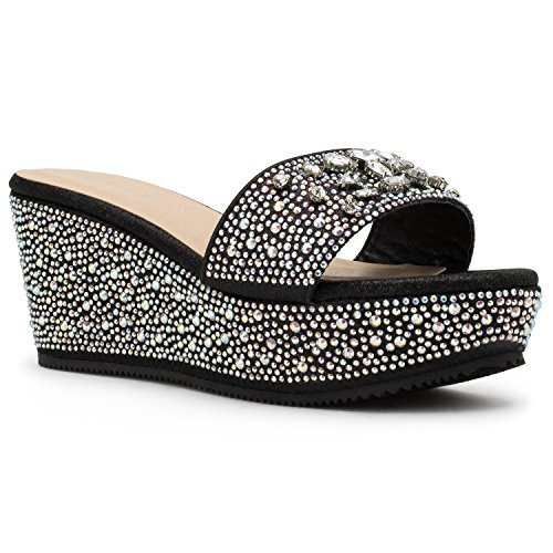 Embellished Platform - RF ROOM OF FASHION Bora-02 Open Toe Rhinestone Embellished Slip On Platform Wedge Sandals Black (8)