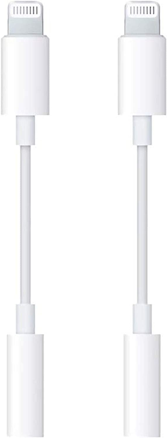 [2 Pack] Lightning to 3.5 mm Headphone Jack Adapter for iPhone, Apple MFi Certified iPhone 12 Aux AudioDongle Cable Earphones Converter Compatible with iPhone 12/12 Pro/11/XS/XR/X/8/7 Support All iOS