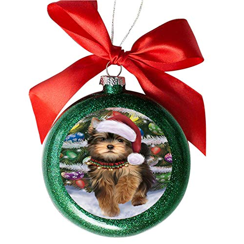 Trotting in The Snow Yorkshire Terrier Dog Green Round Ball Christmas  Ornament GBSOR49474 - Amazon.com: Trotting In The Snow Yorkshire Terrier Dog Green Round