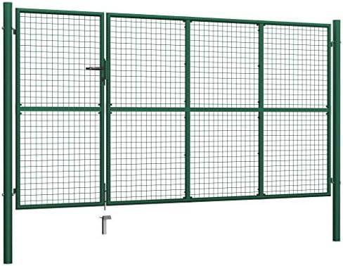 vidaXL Puerta Valla Metálica Jardín Acero Anticorrosión Verja Llave Cerradura 3 Paneles Rejilla + 2 Postes Integrados Vallado Cercado Verde 350x125 cm: Amazon.es: Bricolaje y herramientas