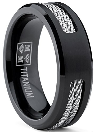 Titanium Cable Ring (Black Titanium ring Wedding band with Stainless Steel Cables size 11)