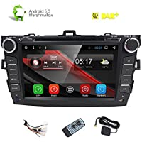 HIZPO In-Dash DVD Receiver Quad Core 2 Din Android 6.0 Marshmallow 8 Display Car DVD Player with Bluetooth USB SD GPS Navigation Stereo for Toyota Corolla 2007 2008 2009 2010 2011