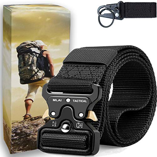 (MLAI Tactical Belts for Men Nylon Belts for Men Heavy Duty Webbing Belt Military Belt Style Quick Release Belt with Adjustable Army/Police/Women Kids/Key Ring)