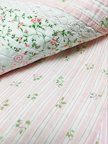 Cozy Line Home Fashions Pink Rose Romantic Chic Lace Bedding Quilt Set, Floral Flower Printed 3D Stripe 100% COTTON Reversible Coverlet Bedspread Gifts for Girls Women (Queen - 3 piece) by Cozy Line Home Fashions (Image #5)