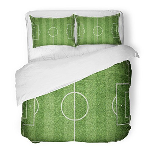 SanChic Duvet Cover Set Green Board Soccer Field Football Abstract Activity Artificial Grass Decorative Bedding Set Pillow Sham Twin Size by SanChic