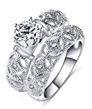 TEMEGO CZ Wedding Ring Set,Round Cut Solitaire Cubic Zirconia 2 Piece Bridal Ring Set,Size 6