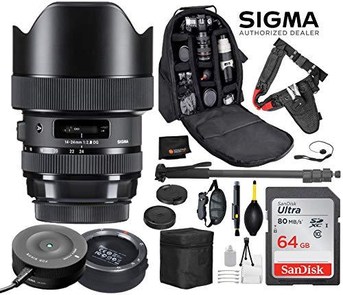 Sigma 14-24mm f/2.8 DG HSM Art Lens for Nikon F DSLR Cameras + Sigma USB Dock with Professional Bundle Package Deal – Quick Release Pro Camera Belt + SanDisk 64gb SD Card + Backpack + More