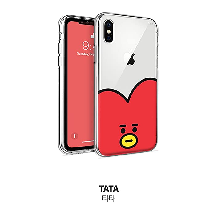Transparent Jelly Big Face BT21 Cell phone case (TATA, iPhone 8+)