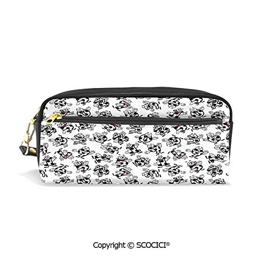 Printed Pencil Case Large Capacity Pen Bag Makeup Bag Cartoon Funny Football Numbers Pattern of Smiling Digits Sports and Education Theme for School Office Work College Travel