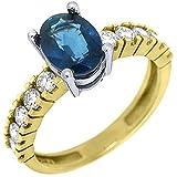 14k Yellow Gold Oval Cut Sapphire & Diamond Engagement Ring 2.14 Carats