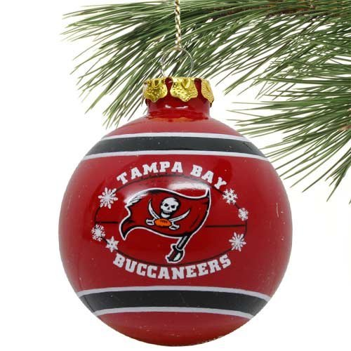 Tampa Glass Ornaments Bay Buccaneers (Tampa Bay Buccaneers 2011 Snowflake Glass Ball Ornament)