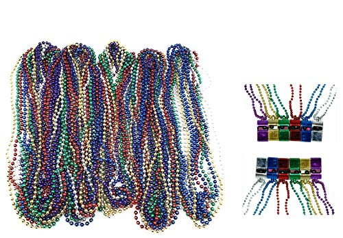 - 72 Necklace 33 inch 07mm Metallic Multi Colors Mardi Gras Beads Beaded Necklace with Whistles