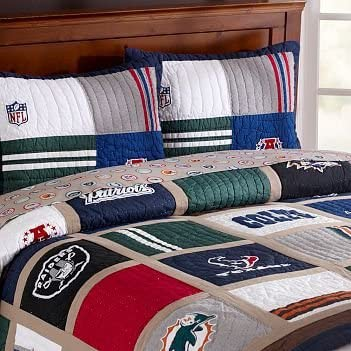 Pottery Barn Teen NFL NFC National Foot Ball League Logos Queen Sheet Set New