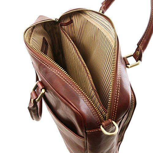 Tuscany Leather Pisa Notebook-Aktentasche aus Leder mit Vorderfach - TL141660 (Schwarz) Schwarz fNcu4