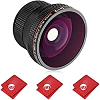Opteka 0.20X HD Super AF Wide Angle Fisheye Lens for Nikon Lenses with a 52mm, 55mm, 58mm or 67mm Front Thread